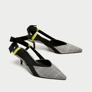 NWOT Zara Size 6 Plaid Slingback Bow Kitten Heel